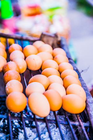 sell: Thai style grilled eggs, Thailand. Stock Photo