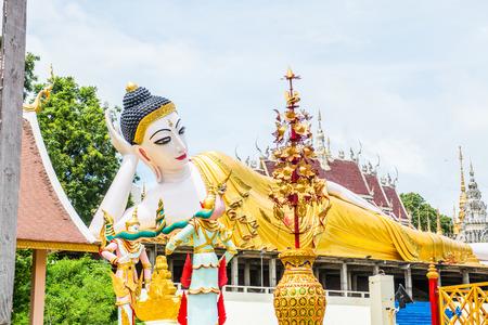 Beautiful reclining Buddha statue at Phra That Suthon Mongkhon Khiri temple, Thailand.
