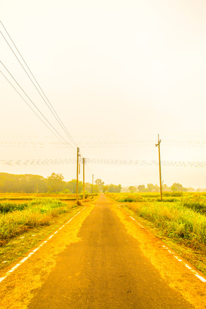 winter road: Running track with mist in winter season at Phayao province, Thailand.