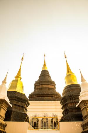 banned: Beautiful pagoda at Ban Den temple, Thailand. Stock Photo