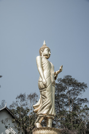 god walking: Walking golden buddha statue at Phra That Khao Noi temple, Thailand.