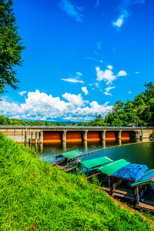 flowing water: Landscape view of Kio Lom dam, Thailand Stock Photo