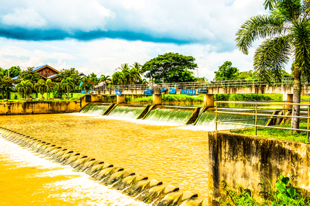 flowing water: Weir at Lampang province, Thailand.