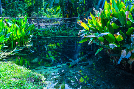 Pond at Jedsee fountain, Thailand. Stock Photo