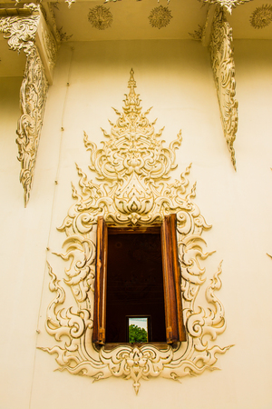 Decoration with molding art at Rong Khun temple, Thailand.