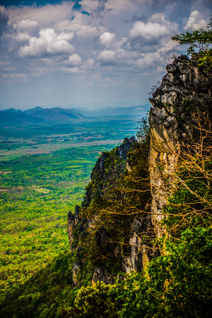 Trees, cave and Pan city at Lampang province in Thailand.