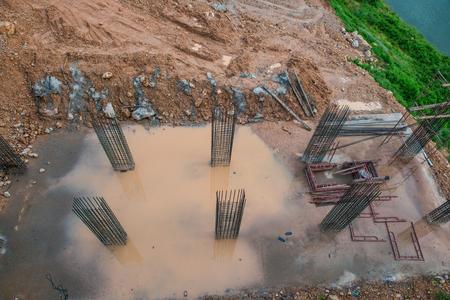 Foundation of suspension bridge, Thailand. Stock Photo