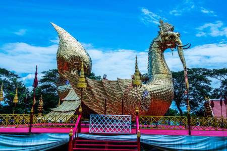 himmapan: Himmapan creature statue at Phra That Suthon Mongkhon Khiri temple, Thailand. Stock Photo