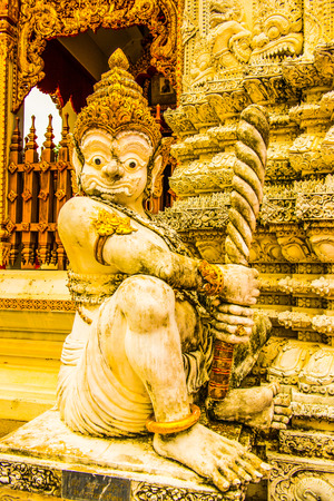 Ancient giant statue in Phra That Suthon Mongkhon Khiri temple, Thailand. Stock Photo