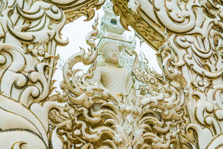 gods: Decoration with molding art at Rong Khun temple, Thailand.