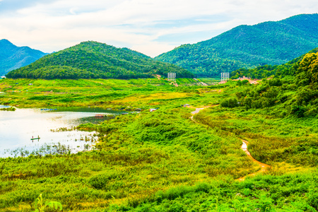 chiangmai province: Landscape view of Mae Kuang Udom Thara dam, Thailand. Stock Photo
