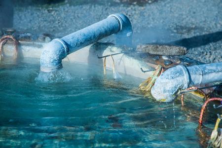 Hot water from underground at Sankamphaeng hot spring, Thailand. 版權商用圖片