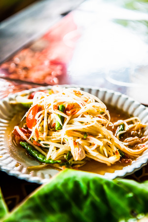 Papaya salad or Som Tum, Thailand. Stock Photo