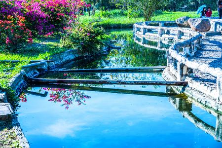 Hot water canal at Sankamphaeng hot spring, Thailand.