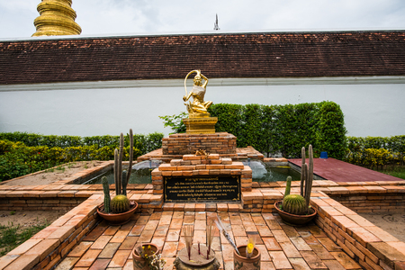 Statue of Mother Earth twisting her hair, Thailand. Stock Photo