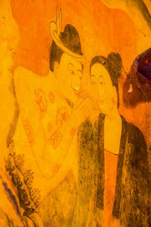 trabajo manual: Ancient mural painting at Wat Phumin, Thailand.