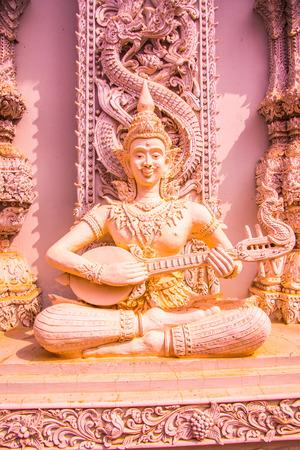 Beautiful molding art at Ming Muang temple in Nan province, Thailand.