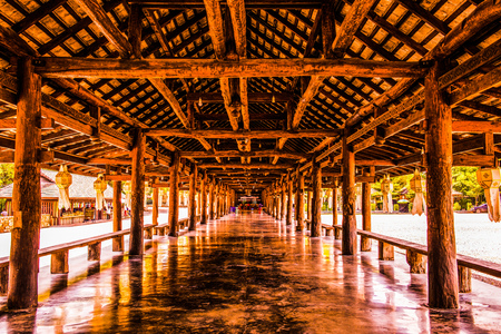 Beautiful Wooden Building in Cherntawan International Meditation Center, Thailand. Standard-Bild