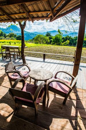 Thai style terrace in Chiangmai city, Thailand. Stock Photo