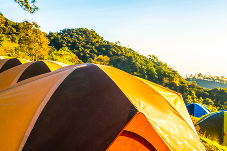Camping yard on mountain, Thailand. Stock Photo