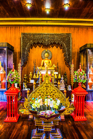 Ancient buddha statue in Phra Kaew temple, Thailand.