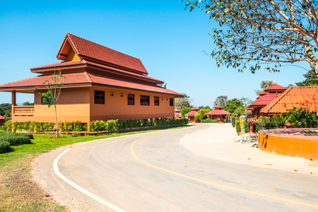 Beautiful Thai style building in Prayodkhunpol Wiang Kalong temple, Thailand. Stock Photo