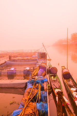 Fish cage in Kwan Phayao lake, Thailand. Banco de Imagens