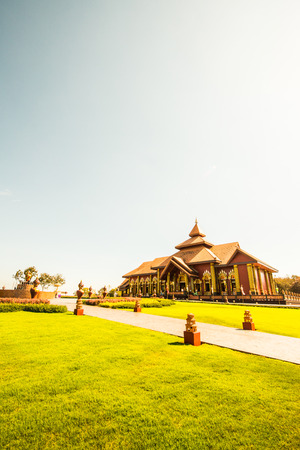 Beautiful Thai church in Prayodkhunpol Wiang Kalong temple, Thailand. Stock Photo