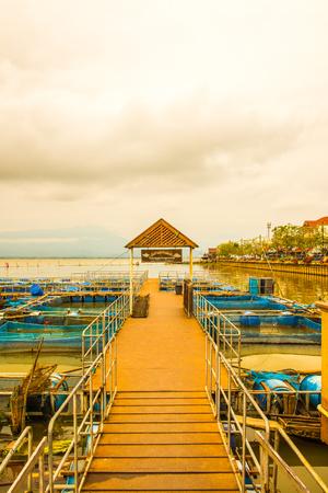 Fish cage in Kwan Phayao lake, Thailand. Stock Photo