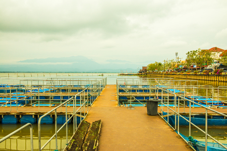 Fish cage in Kwan Phayao lake, Thailand. Stock Photo