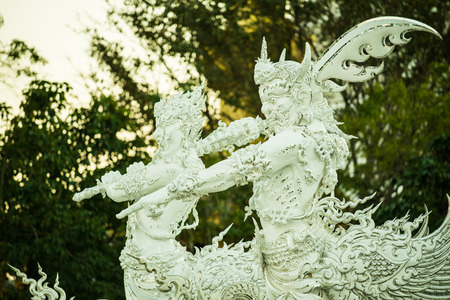 Thai style art in Rong Khun temple, Thailand.