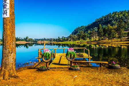 Lake view in Chiangmai province, Thailand. 스톡 콘텐츠