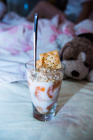 Orange Yogurt Parfait in Glass, Thailand. Stock Photo