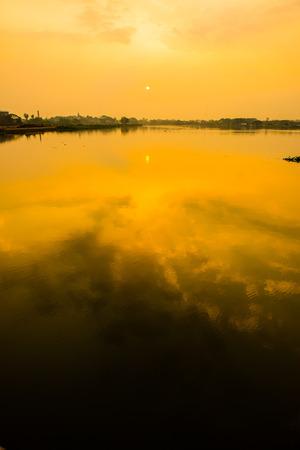 Sunrise at Kwan Phayao lake, Thailand.