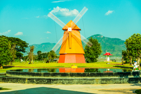 Beautiful windmill in park, Thailand.