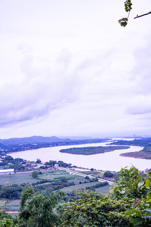 Top view of Mekong river at Chiang Saen city, Thailand.