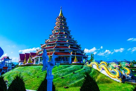 Beautiful chinese pagoda in Hyuaplakang temple, Thailand. 新聞圖片
