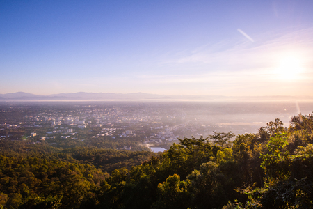 Top view of Chiangmai cityscape in the morning, Thailand.
