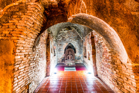 The ancient tunnel of Umong temple, Thailand.