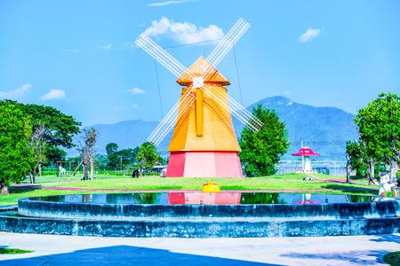 Beautiful windmill in park, Thailand. Archivio Fotografico - 115533060