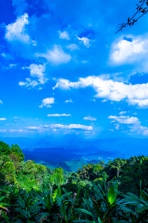 The mountains view with clouds in Huai Nam Dang national park, Thailand. Stock Photo