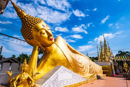 The reclining Buddha statue in Pong Sunan temple, Thailand. Stock Photo