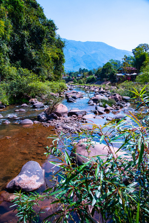 Landscape view of Mang river in boklua district, Thailand.