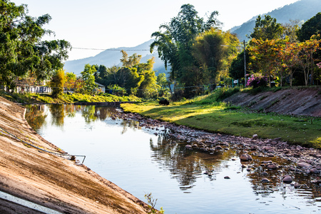Landscape view of Mang river in Bokuai district, Thailand.