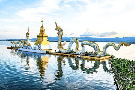 White Naga statue at Kwan Phayao lake, Thailand.