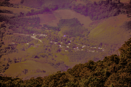 Top View of Country Village at Phu Chi Fa View Point, Thailand. Stock Photo