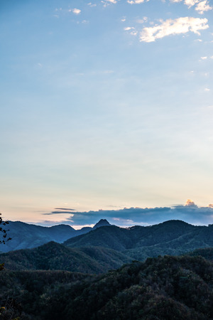 Mountain view with mist at Wat Phrathat Doi Leng view point, Thailand.