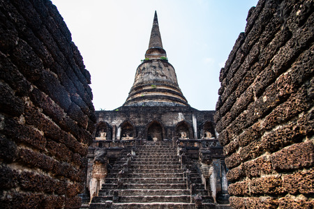 Chang Lom temple in Si Satchanalai historical park, Thailand.