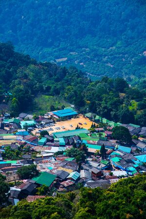 Mountain view with Doi Pui Mong hill tribe village, Thailand.