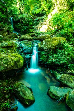 Sapan waterfall in Bokuai district, Thailand. 스톡 콘텐츠